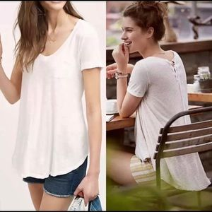 T.La Anthropologie Lace Up Swing Tee Top Xsmall